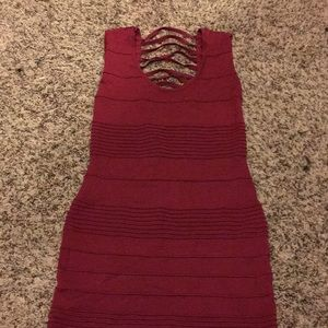 Sexy Red Textured Ladder Back Mini Dress Size M
